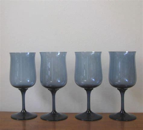 vintage chagne glasses vintage blue wine glasses set of 4 from