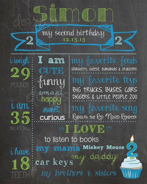 2nd Birthday Chalkboard Birthday Poster Sign Boy 2 Year Old Memory Milestones Blue Lime Green 2nd Birthday Chalkboard Template