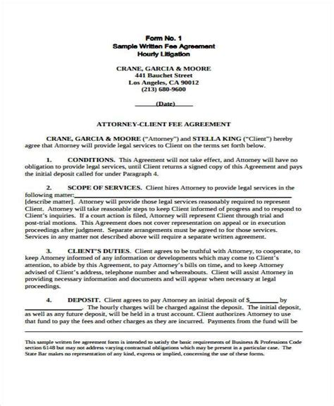 contingency agreement template 8 contingency fee agreement form sles free sle