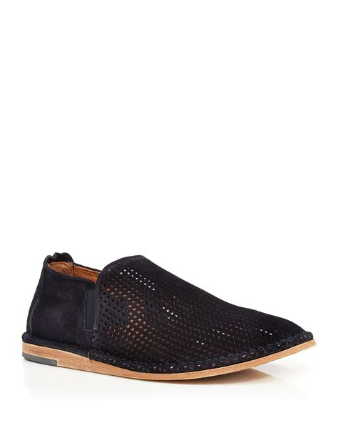 vince shoes vince nico 2 perforated sport suede slip on boots in blue