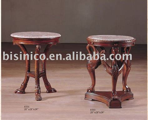provincial wooden end table with marble top coffee