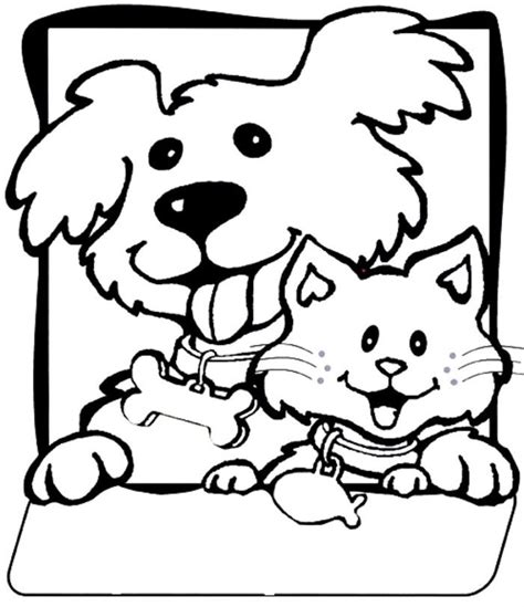 coloring pages with dogs and cats and cat coloring pages coloring home