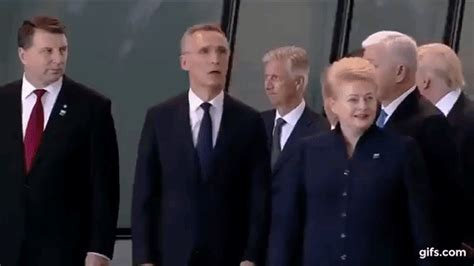 donald trump got pushed donald trump shoves a nato leader to be in front people com