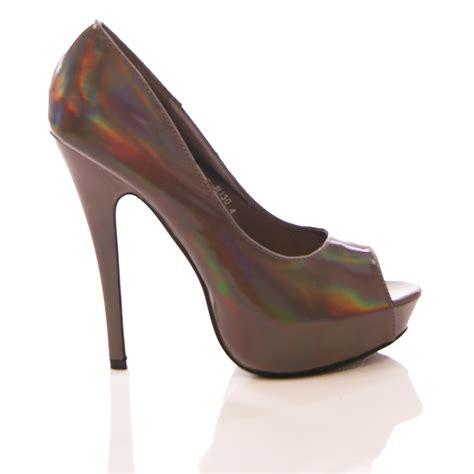 evening high heel shoes womens peep toe evening shoe hologram high