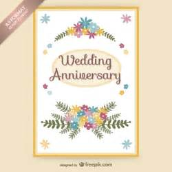 wedding anniversary floral card vector free