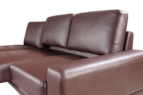 6002b modern brown leather sectional sofa