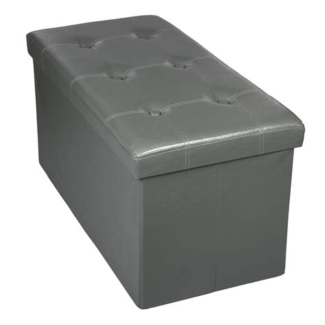 ottoman foot rest storage bench ottoman faux leather foldable collapsible