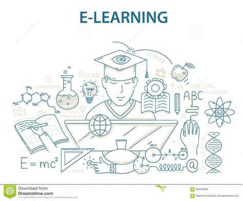 doodle learning doodle style design concept of e learning and
