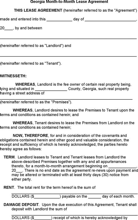 Rental Agreement Letter Ga month to month rental agreement for free tidyform