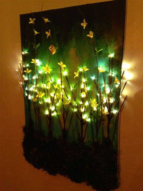 lighted canvas on pinterest light up canvas canvas made this diy light up branches on painted canvas canvas