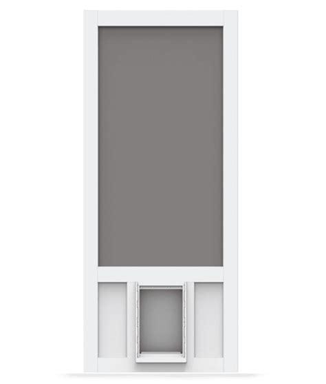 Which Is Better Vinyl Or Aluminum Screen Door - chesapeake white vinyl screen door with pet door screen