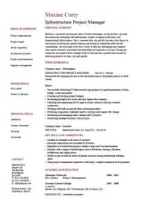 infrastructure project manager resume exle sle