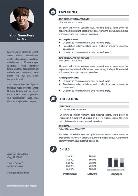 cv templates for it professionals orienta free professional resume cv template
