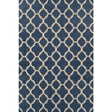 Hton Bay Trellis Reversible Cape Cod Blue 5 Ft 3 In X Blue Outdoor Rug