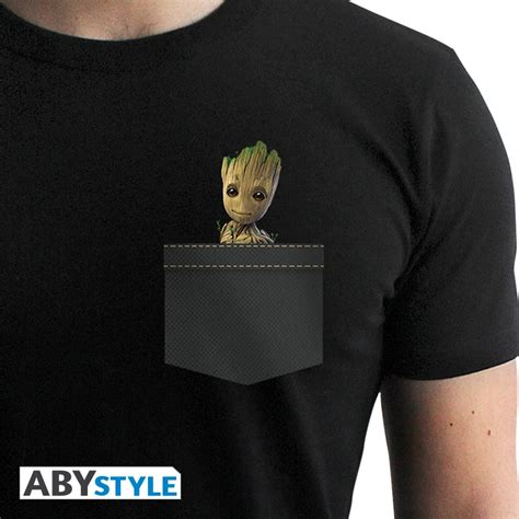 T Shirt Pria Groot Guardians Of The Galaxy 1 marvel t shirt guardians of the galaxy pocket groot abystyle