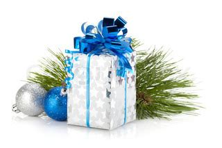 christmas gift box and blue baubles. isolated on white