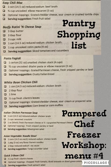 Pantry Menu by Pered Chef Freezer Workshop Pantry Shopping List Menu