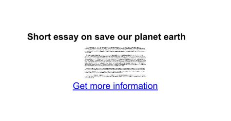 Can We Save Planet Earth Essay by Essay On Save Our Planet Earth Docs