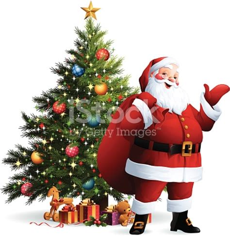 images of christmas tree and santa claus