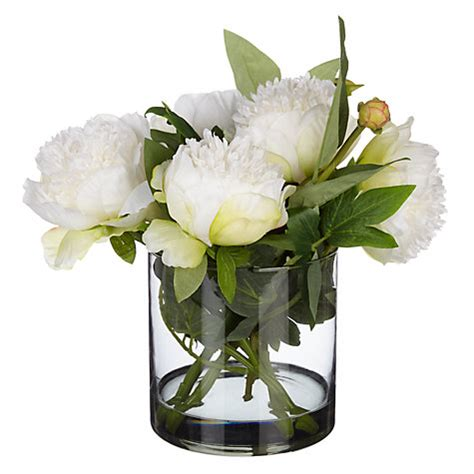 Artificial Peonies In Vase by Buy Peony Artificial Peonies In Black Glass Cylinder Vase
