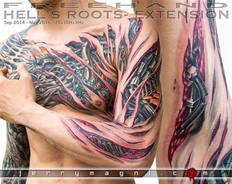 biomechanical tattoo step by step hell s roots jerry magni tattoo artist
