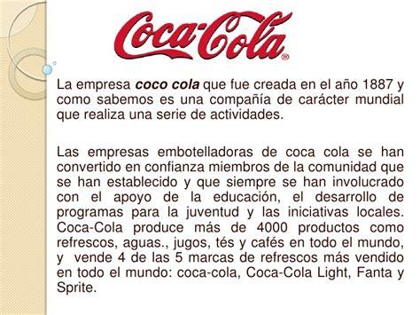 informe anual de la empresa coca cola marketing analisis foda cocacola ventocilla riquelme
