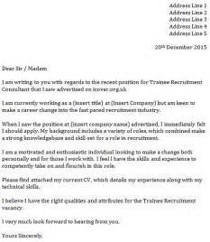 trainee recruitment consultant cover letter cover