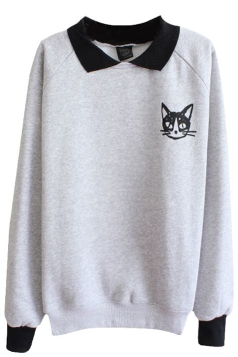 Cat Print Panel Hoodie cat pattern sleeve sweatshirt with contrast collar