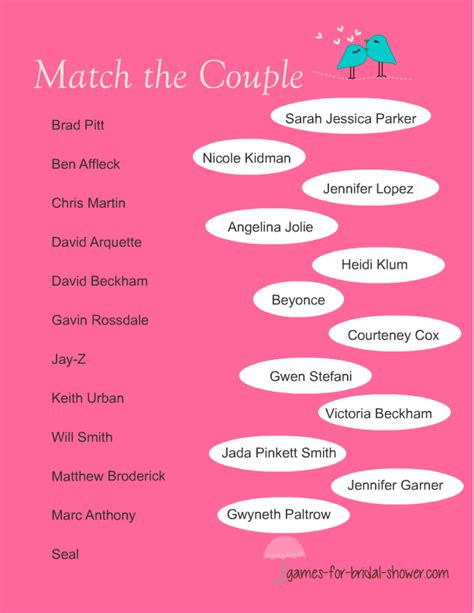 printable co ed bridal shower games free printable match the famous couples game