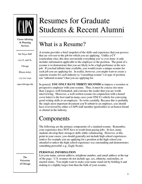 Best Resume Format For Graduate Students by Graduate Resume Template Graduate Cv Template Student Jobs