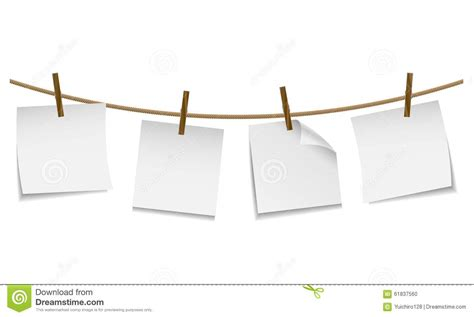 blank white paper hanging on clothesline with clothespin stock vector image 61837560