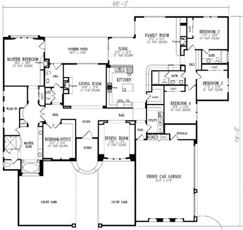 5 bedroom floor plans 1 story mediterranean style house plans 3619 square foot home 1 story 5 bedroom and 3 bath 3