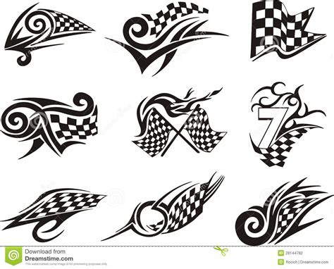 checkered tattoo designs set of racing tattoos with checkered flags stock