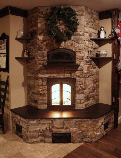 country style stacked fireplace corner eith insert