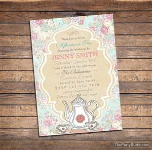 tea baby shower invitation printable high tea shower invite baby shower brunch afternoon