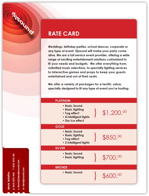 exles of rate cards el vaquero graphics team