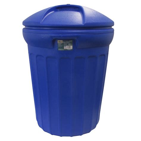 shop blue hawk 32 gallon s blue outdoor garbage can at