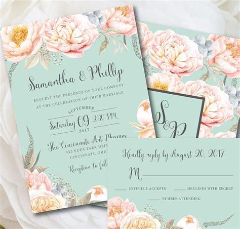 Mint Green Wedding Invitation