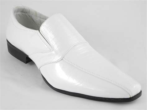 mens white shoes mens white patent leather look slip on wedding shoes size