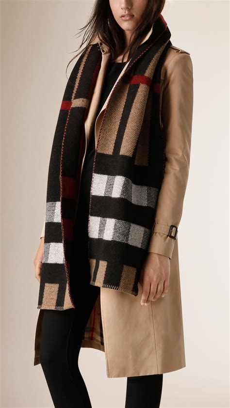 burberry check wool blanket scarf lyst