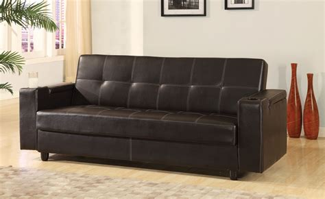 futon with cup holders futon adjustable sofa brown leatherette storage cup