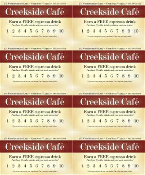 Restaurant Punch Card Templates by Restaurant Punch Card Marketing Archive