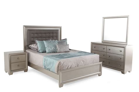 Mathis Brothers Bedroom Furniture Four Transitional Crocodile Textured Bedroom Set In Silver Mathis Brothers Furniture