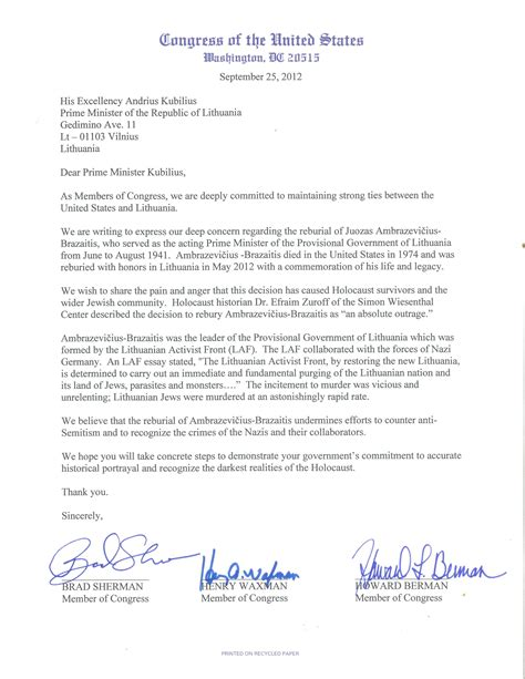 exle of formal letter to prime minister us congressmen sherman waxman and berman write to