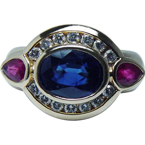 Ruby 7 7ct vintage effy 2 7ct sapphire ruby ring 14k gold