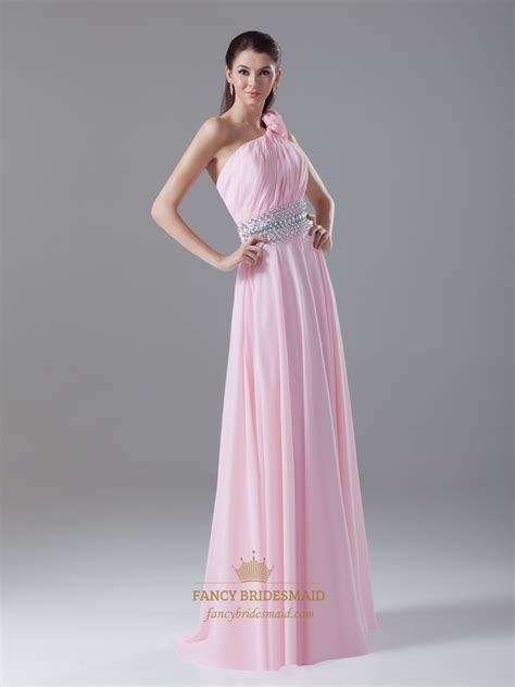 pink beaded dress pink beaded waist one shoulder bridesmaid dresses with
