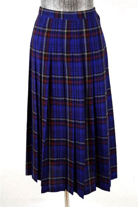 vintage womens blue plaid pendleton pleated skirt classic