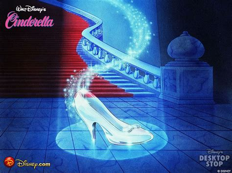 the slipper and the cinderella s glass slipper classic disney wallpaper