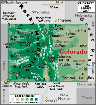 colorado map / geography of colorado/ map of colorado