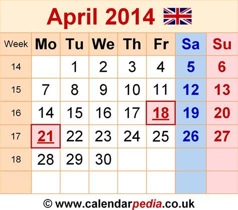 Calendar April 2014 Calendar April 2014 Uk Bank Holidays Excel Pdf Word